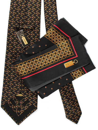 Zilli Tie & Pocket Square Set Black Red Gold Design FINAL SALE