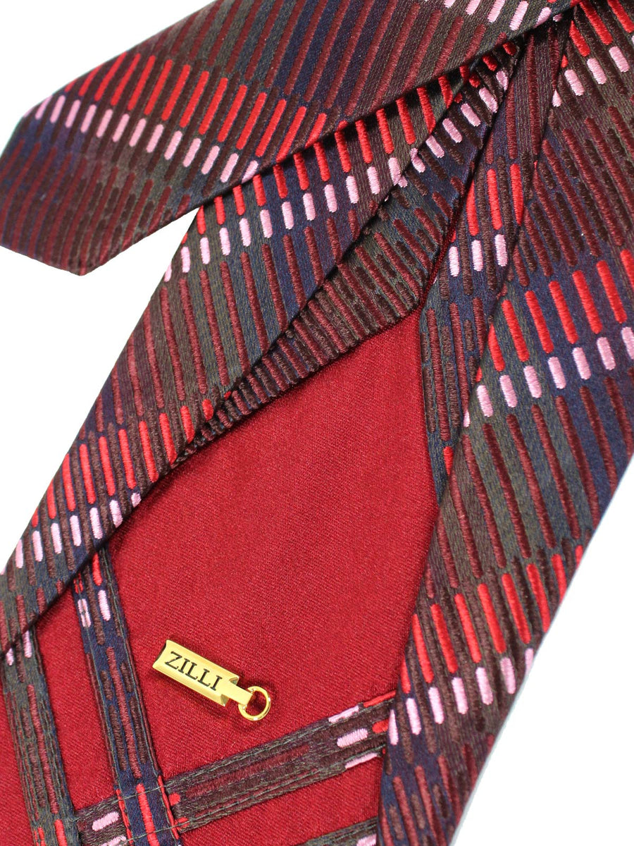 Zilli Sevenfold Tie Burgundy Stripes