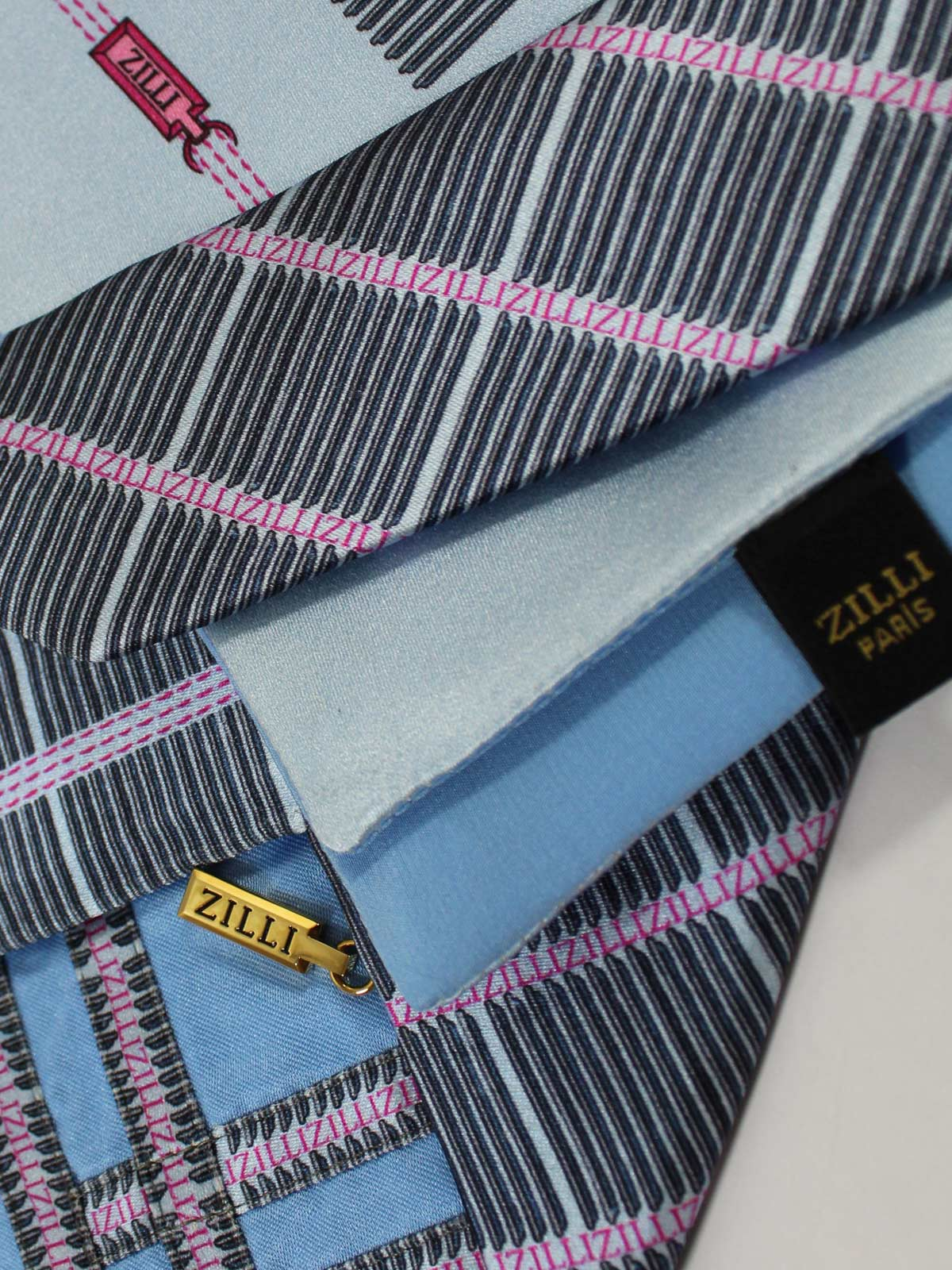 Zilli Extra Long Tie Pocket Square Set Sky Blue Black Pink