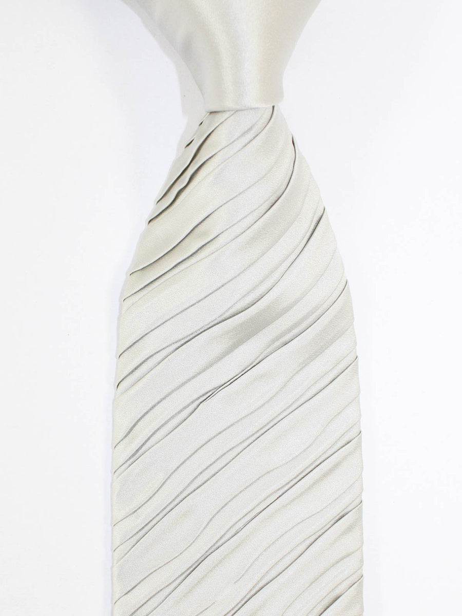 Zilli Pleated Silk Tie Solid Gray - Special Edition