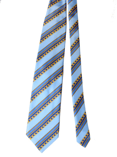 Zilli Silk Tie & Matching Pocket Square Set Sky Blue Gold Chain Stripes FINAL SALE
