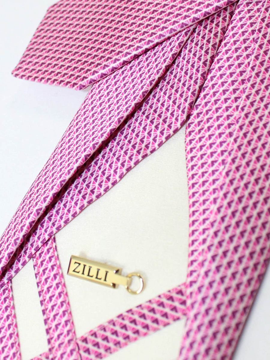 Zilli Sevenfold Tie White Pink Cranberry Geometric
