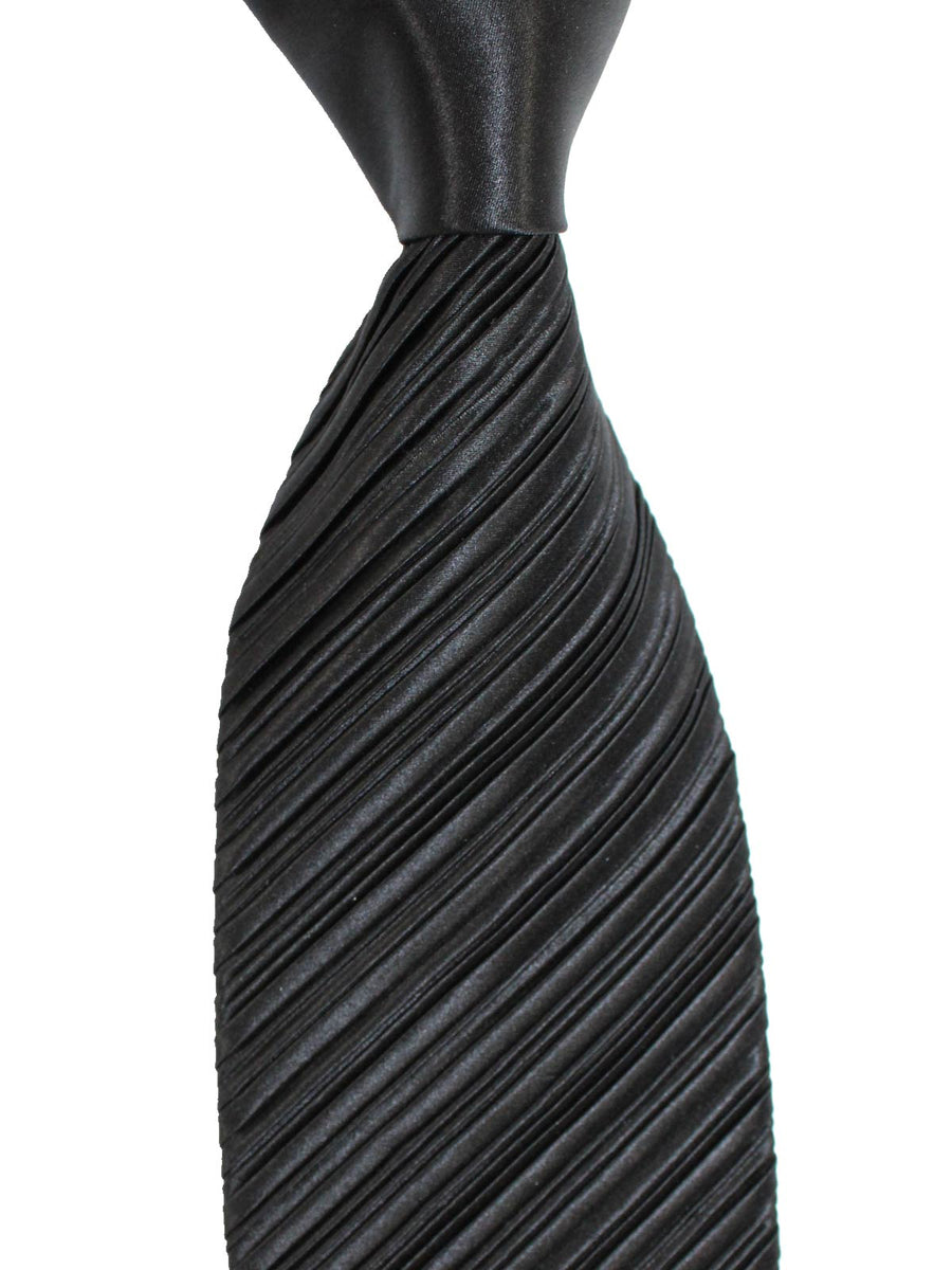 Zilli Pleated Silk Tie Solid Black