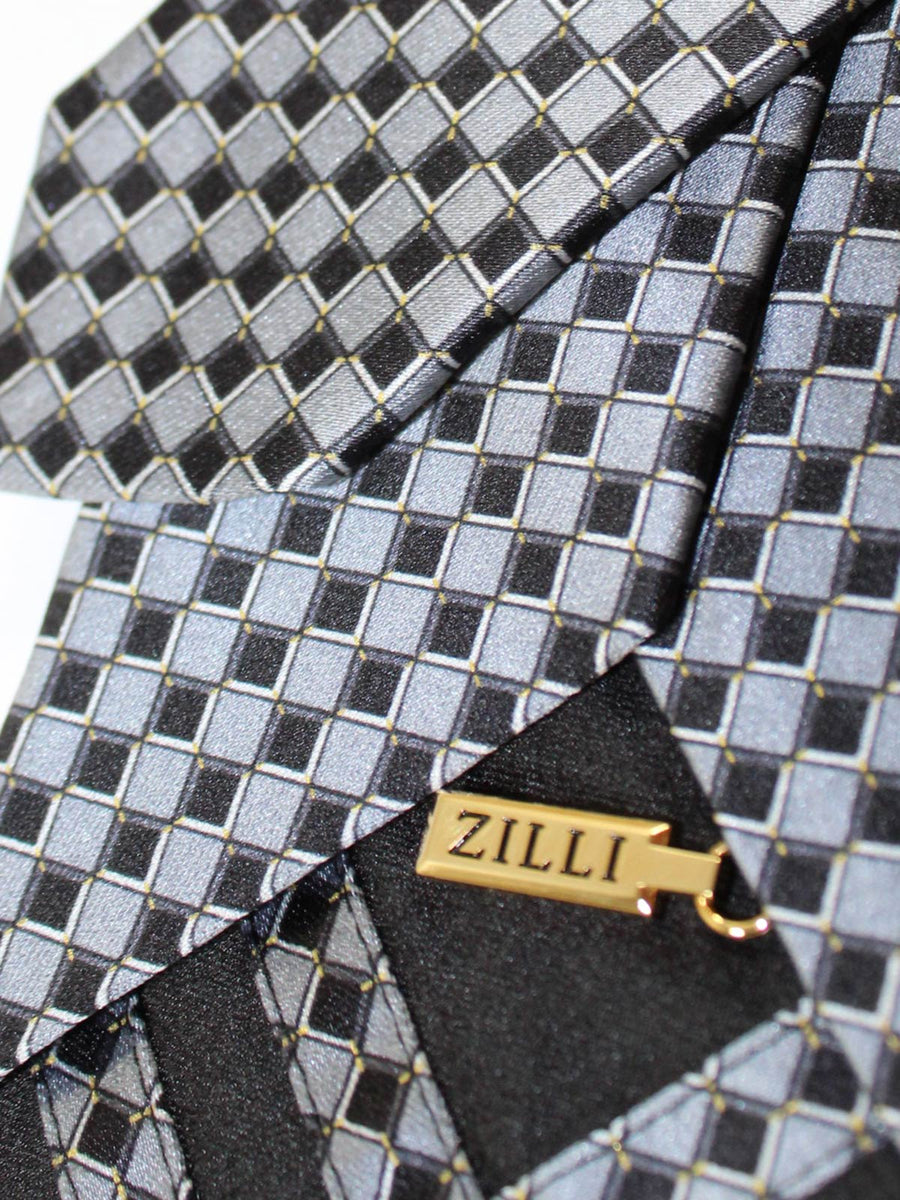 Zilli Silk Tie Gray Mini Squares Design