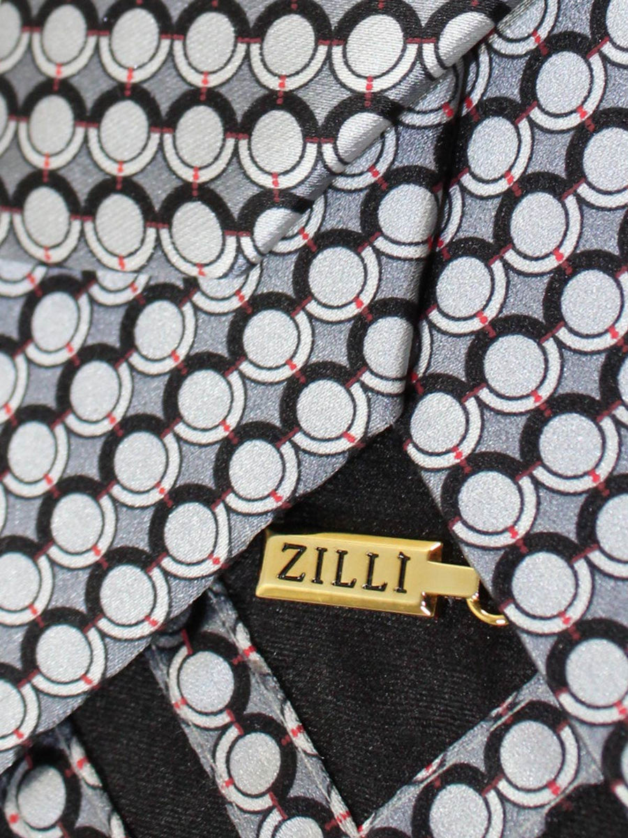 Zilli Tie Gray Geometric Design