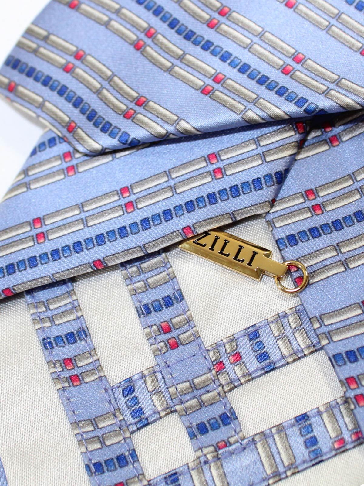 Zilli Silk Tie Gray Blue Stripes sale