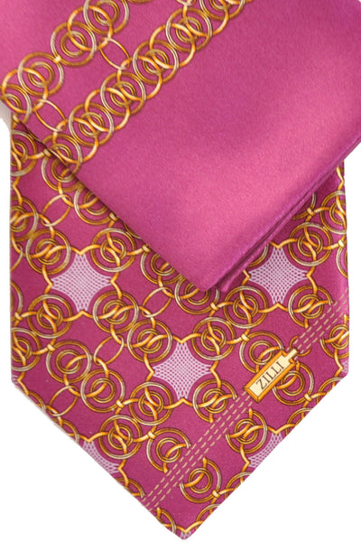 Zilli Tie & Pocket Square Set Dust Pink Gold