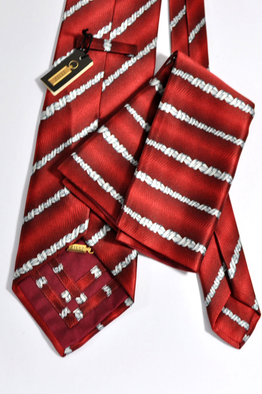 Zilli Tie & Pocket Square Set Burgundy Red Stripes FINAL SALE
