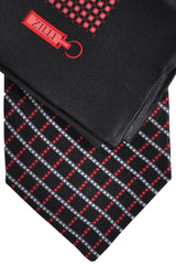 Zilli Tie & Pocket Square Set Black Red Silver Design