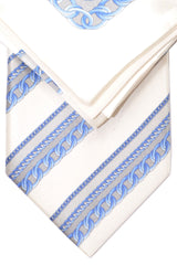 Zilli Silk Tie & Pocket Square Set White Gray Blue Chain Stripes