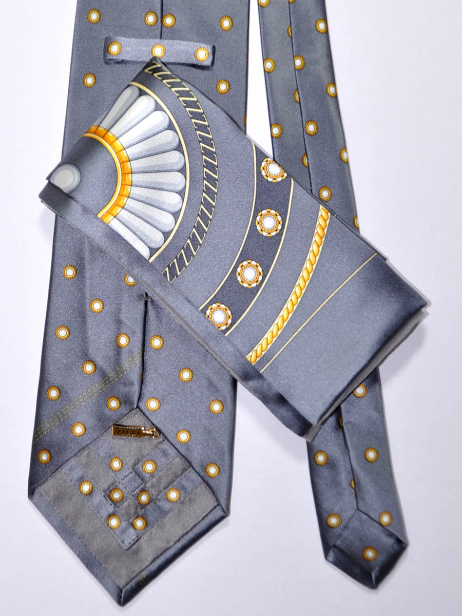 Zilli Extra Long Tie & Pocket Square Set Gray Dots