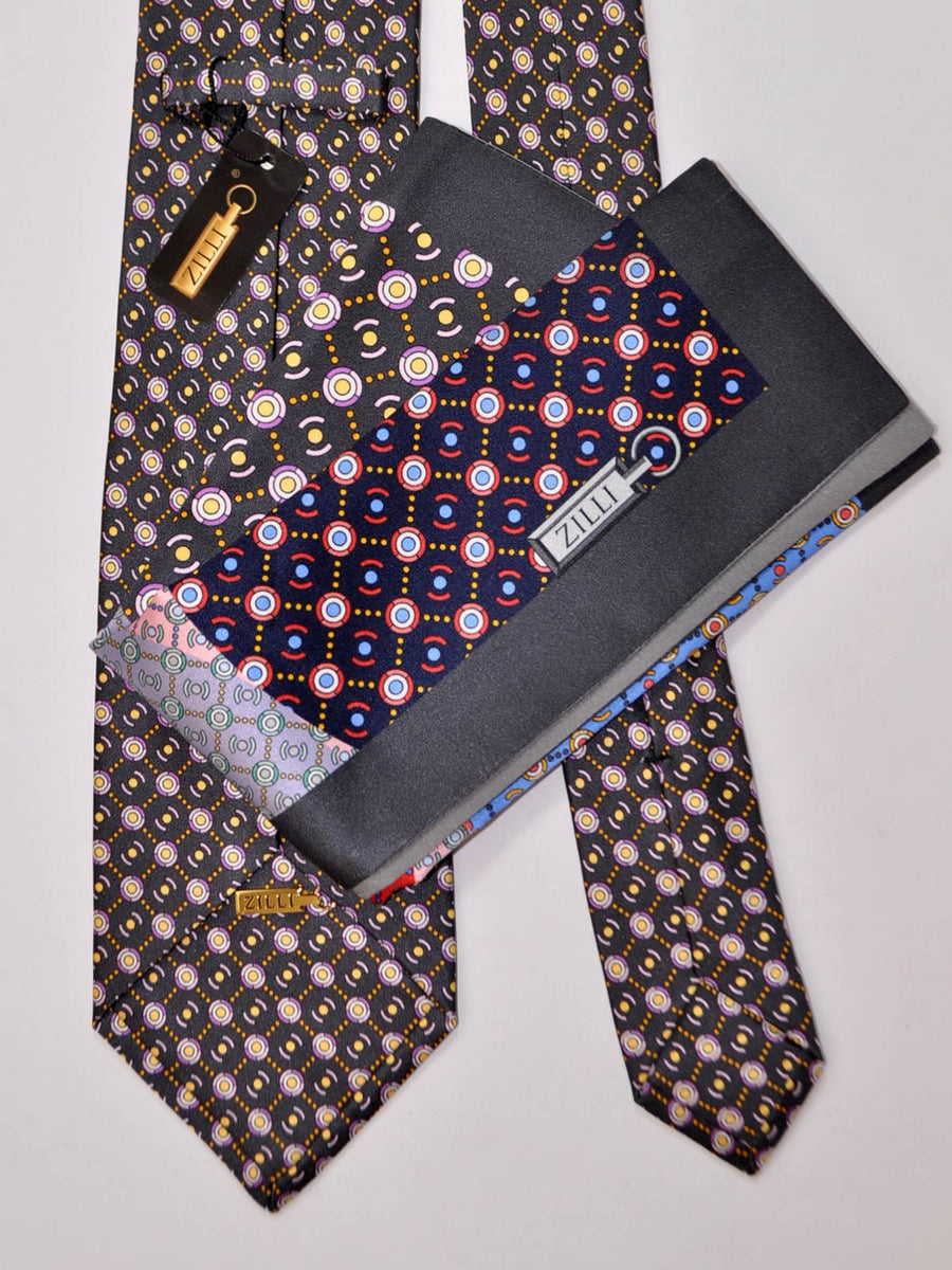 Zilli Tie & Pocket Square Set Black Purple Gold Dot Circles FINAL SALE
