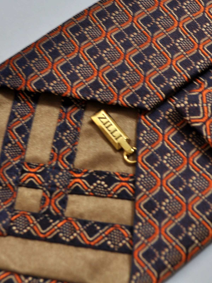 Zilli Tie Dark Blue Orange FINAL SALE