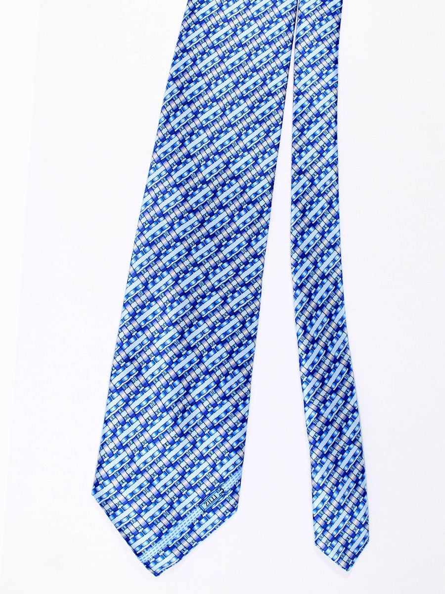 Zilli Silk Tie & Pocket Square Set Sky Blue Geometric Design