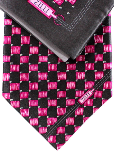 Zilli Extra Long Tie  Pocket Square Set Gray Pink