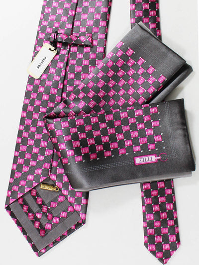 Zilli Extra Long Tie & Pocket Square Set Gray Pink