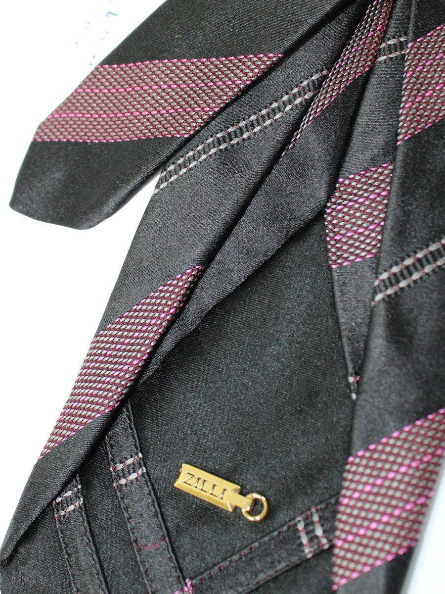 Zilli Sevenfold Tie Black Gray Pink Stripes