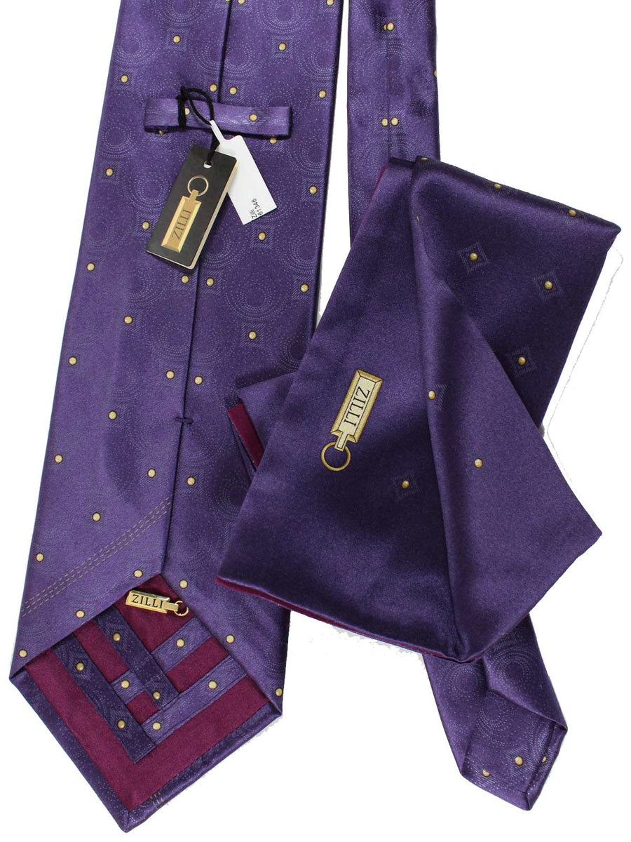 Zilli Extra Long Tie & Pocket Square Set Purple Design