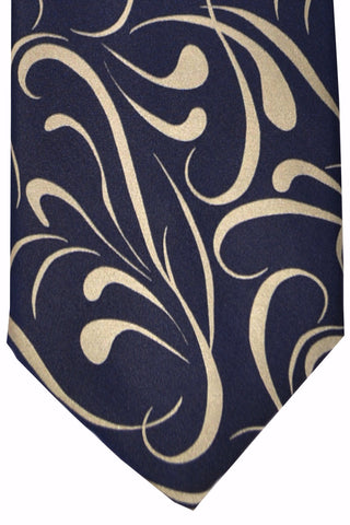 Zilli Tie Dark Navy Cream-Silver - Wide Necktie