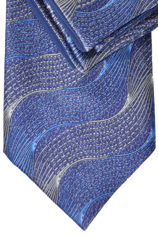 Zilli Tie & Pocket Square Set Gray Navy Blue Swirl