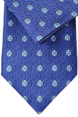 Zilli Extra Long Tie & Pocket Square Set Navy Silver Aqua Geometric