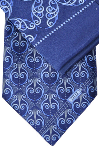 Zilli Tie & Pocket Square Set Navy Blue Silver Geometric