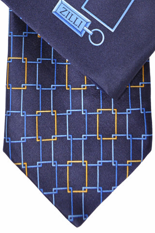 Zilli Tie & Pocket Square Set Navy Blue Gold Geometric