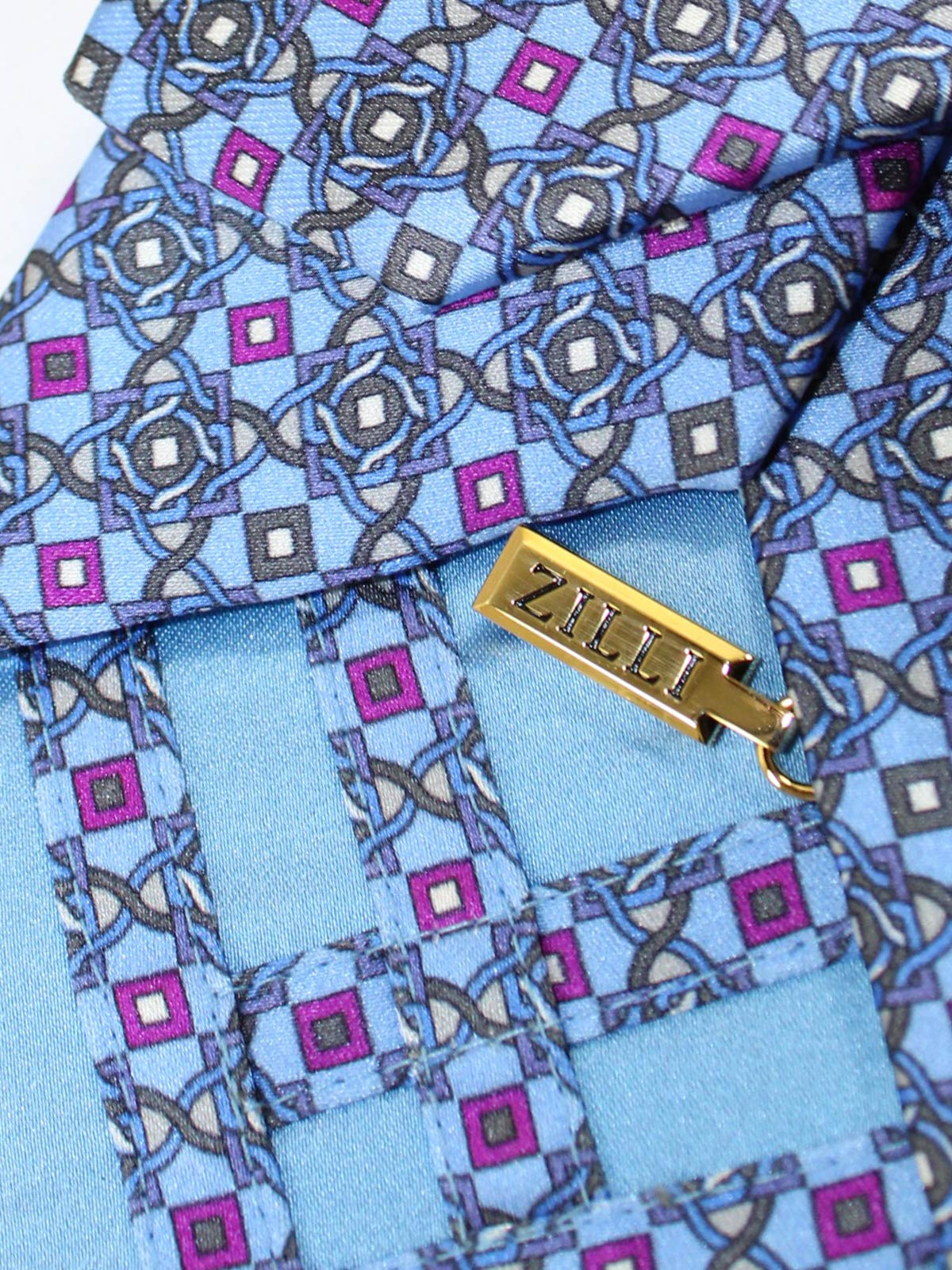 Zilli Silk Tie Blue Fuchsia Gray Geometric Design - Wide Necktie