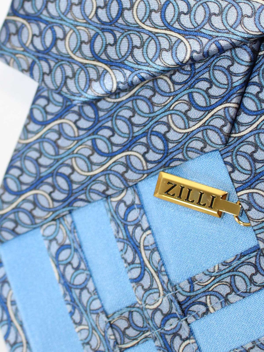 Zilli Silk Tie Gray Blue Geometric Design - Wide Necktie