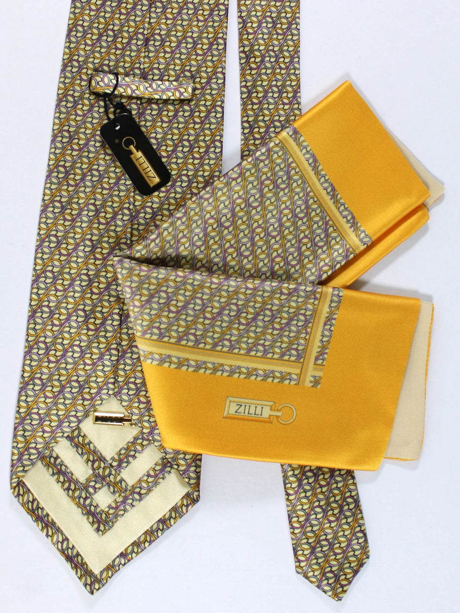 Zilli Silk Tie & Pocket Square Set Yellow Purple Orange Geometric Design