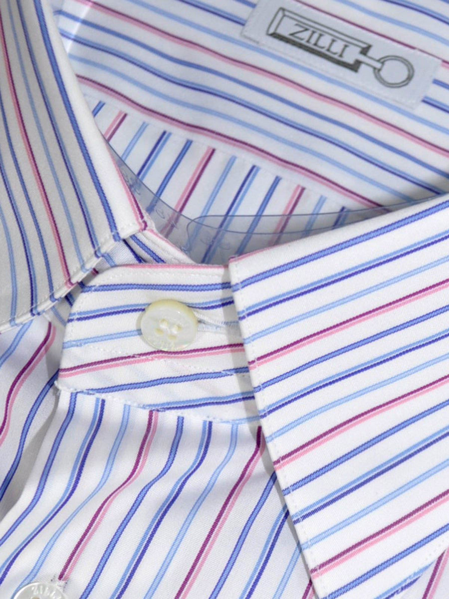 Zilli Shirt White Pink Blue Stripes 44 - 17 1/2 SALE