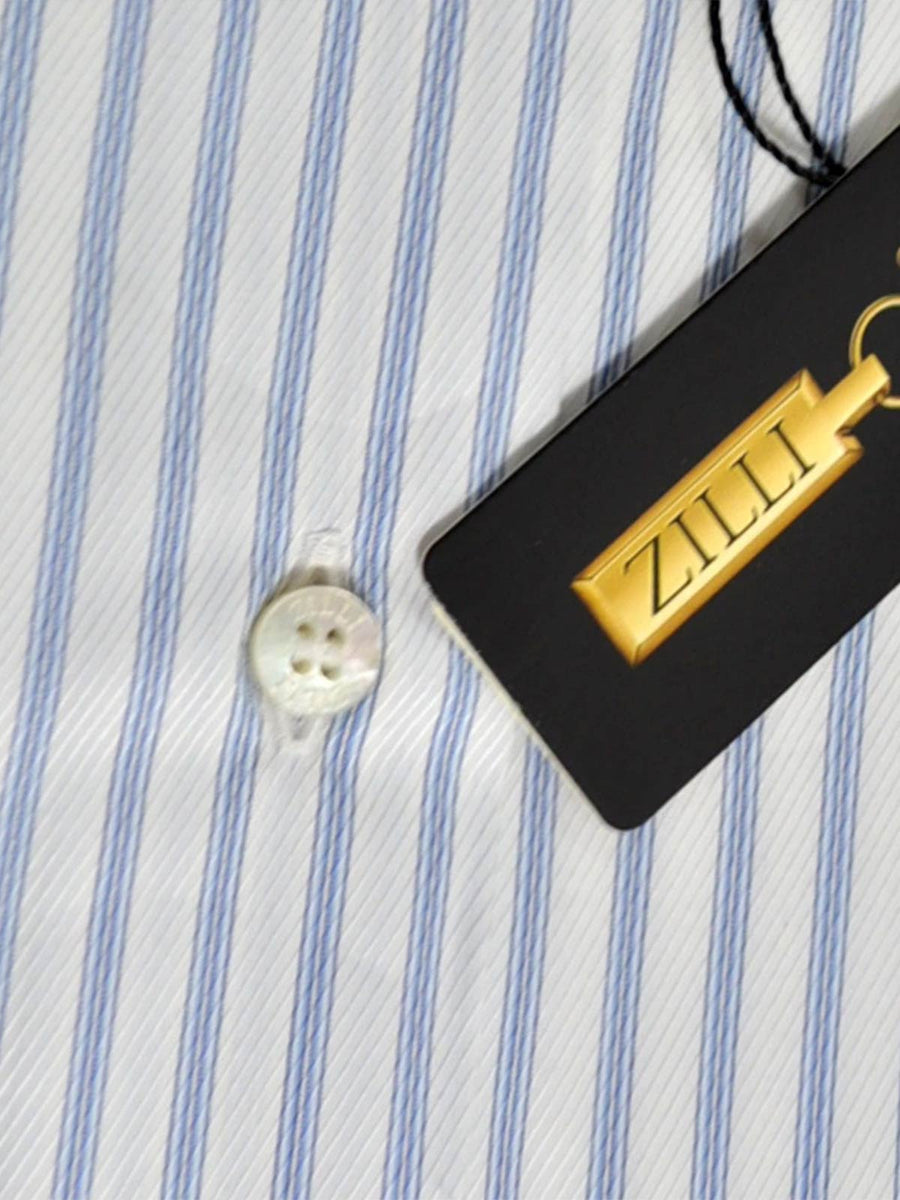 Zilli Dress Shirt White Blue Stripes New