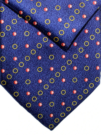 Zilli Silk Tie & Pocket Square Set Dark Blue Gold Pink Geometric FINAL SALE