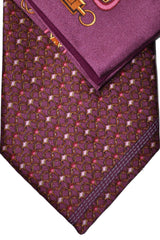 Zilli Silk Tie & Pocket Square Set Wine Purple Pink Geometric