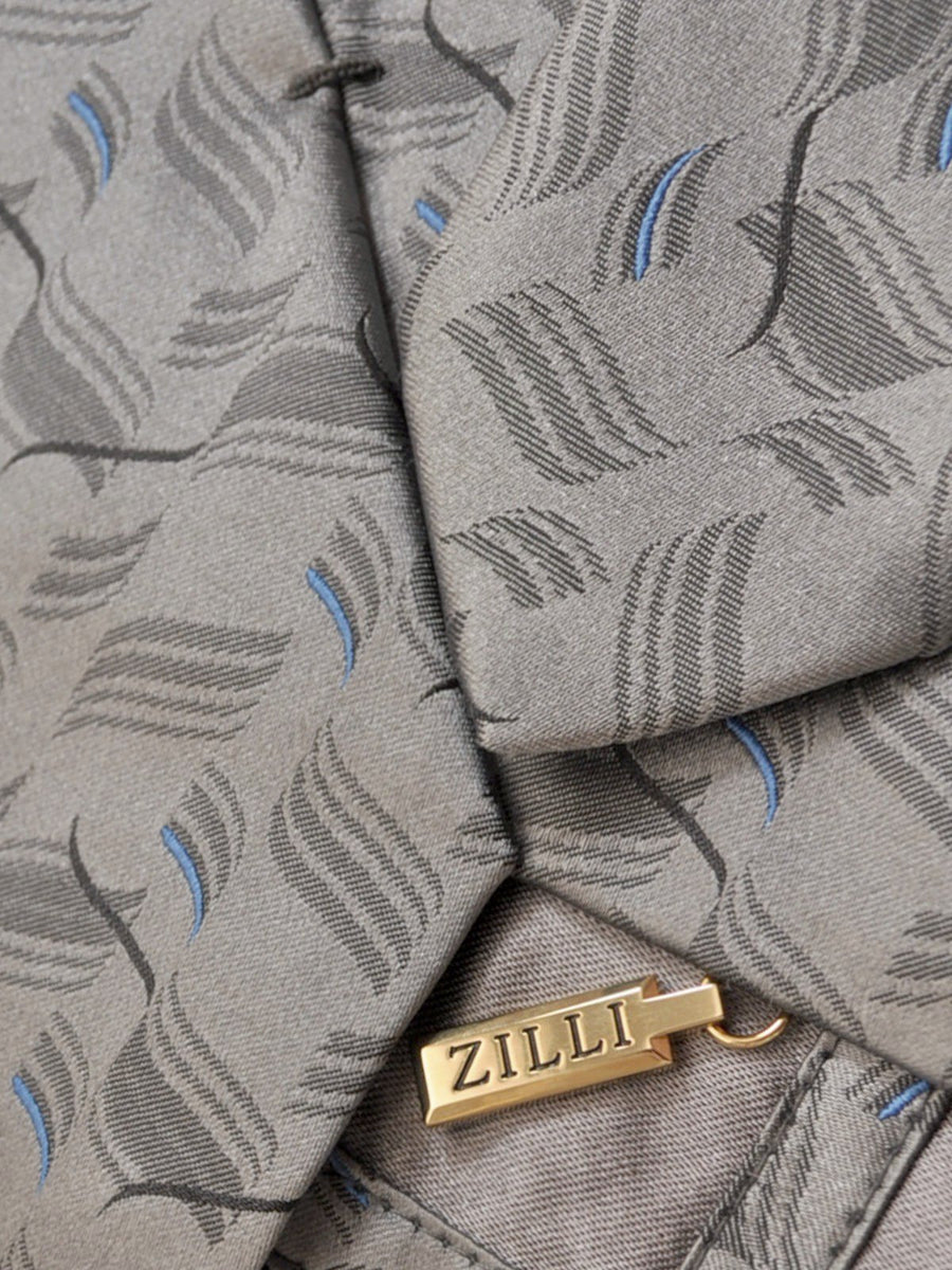 Zilli Tie Gray Royal Blue Geometric