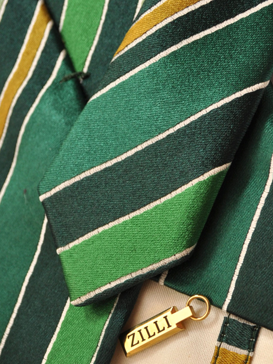 Zilli Tie Green Gold Stripes