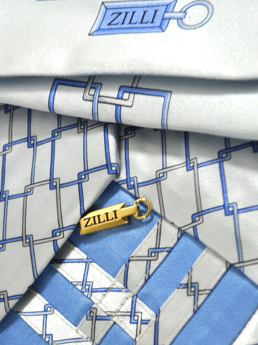 Zilli Tie & Pocket Square Set Gray Blue Geometric