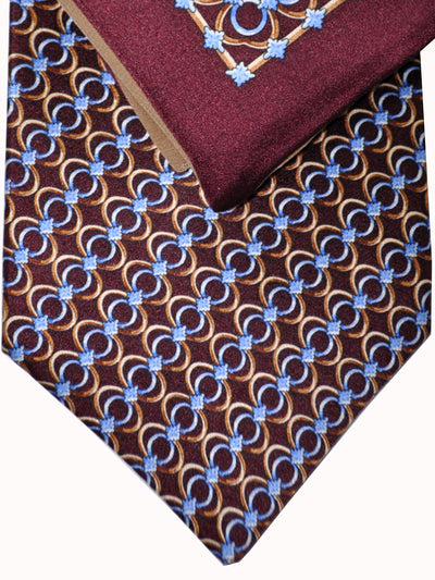 Copy of Zilli Tie & Pocket Square Set Maroon Gold Brown Blue Geometric