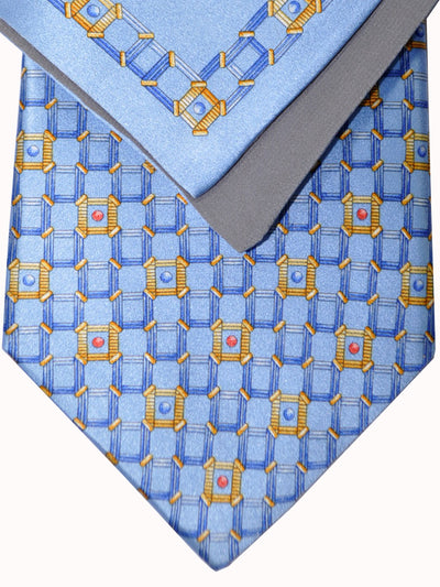 Zilli Tie & Pocket Square Set Sky Blue Gold Geometric