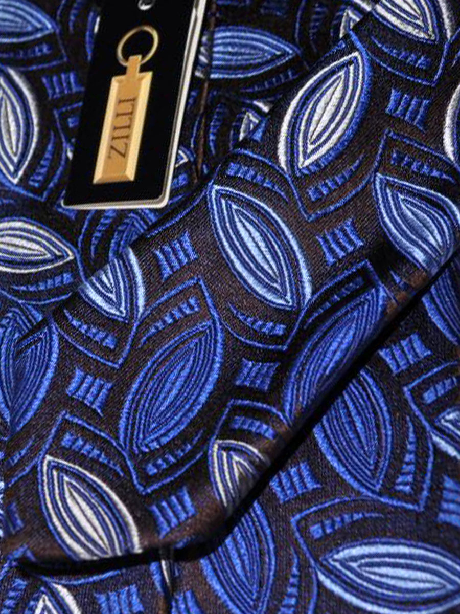Zilli Tie Brown Blue Silver Geometric - WIDE NECKTIE