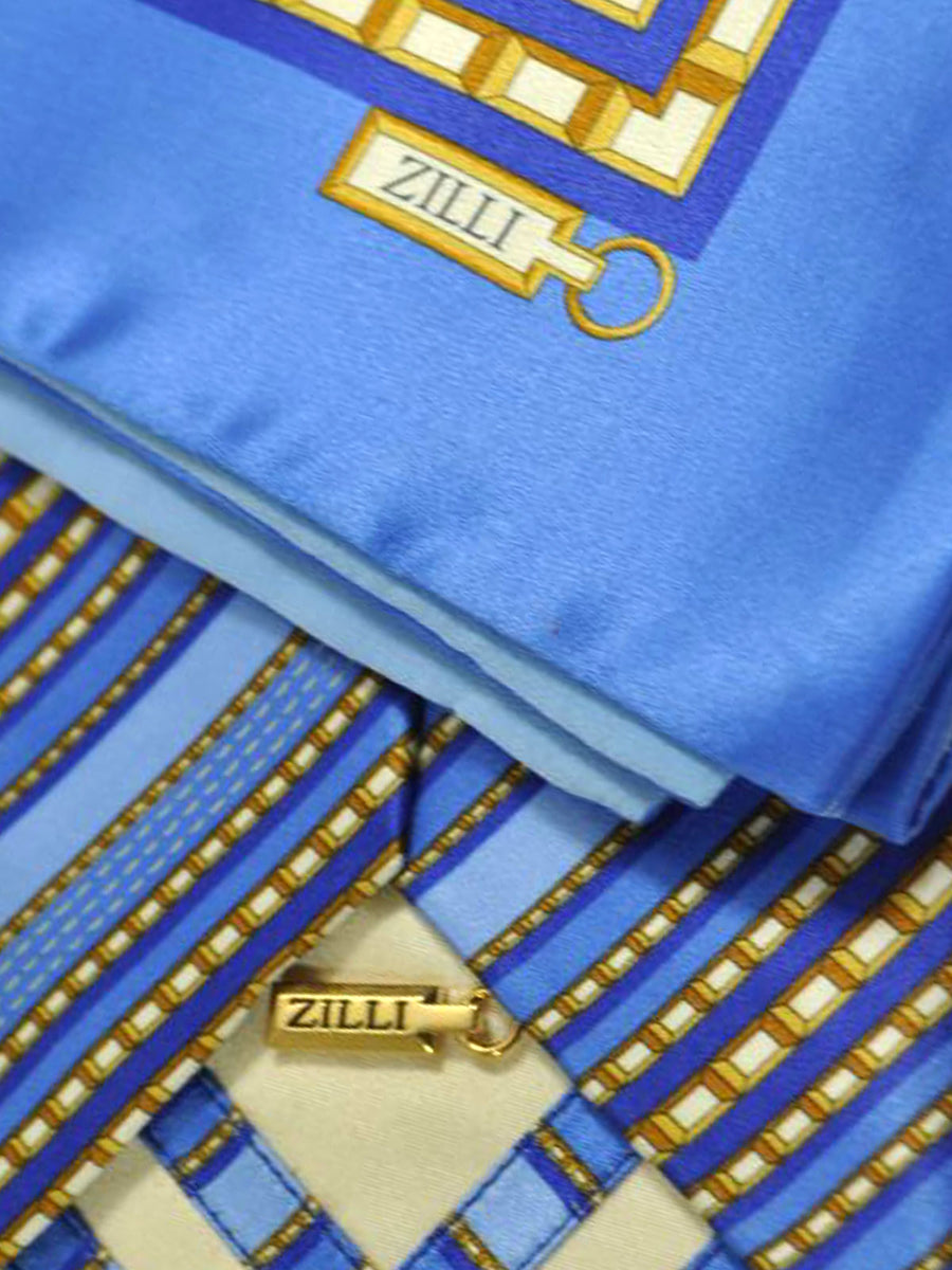 Zilli Tie & Pocket Square Set Blue Gold Gray Stripes