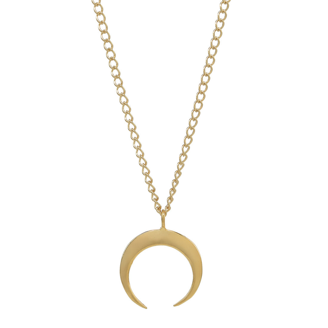 bone horn moon gold dp small necklace and crescent sterling in silver double white also com amazon