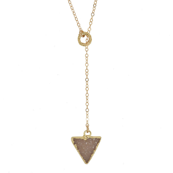 Mini Druzy Triangle Drop Lariat