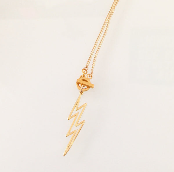 Lightning Strikes x 2 Necklace Gold or Silver