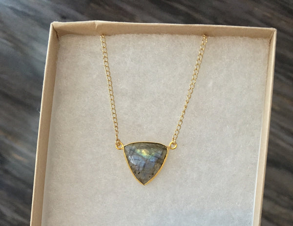 Light Catcher Triangle Necklace - Moonstone or Labradorite