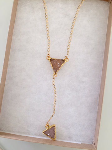 Druzy X 2 Triangle Drop Lariat Necklace