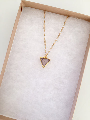 Mini Druzy Triangle Drop Necklace