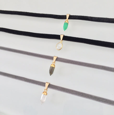 Super Thin Velvet Chokers with Crystals/Stones