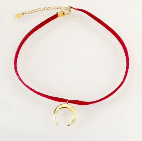 Super Thin Velvet Choker - Mini Crescent (Choice of Colors)