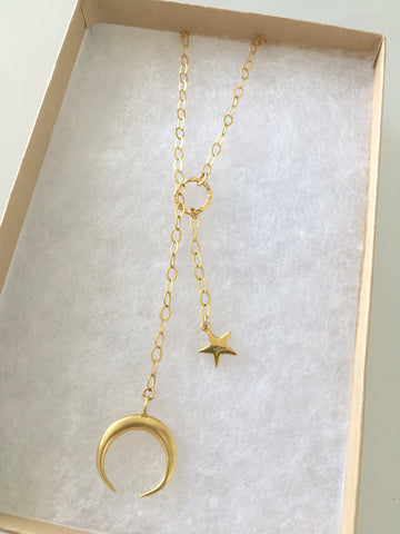 The Crescent Moon and Stars Lariat Necklace
